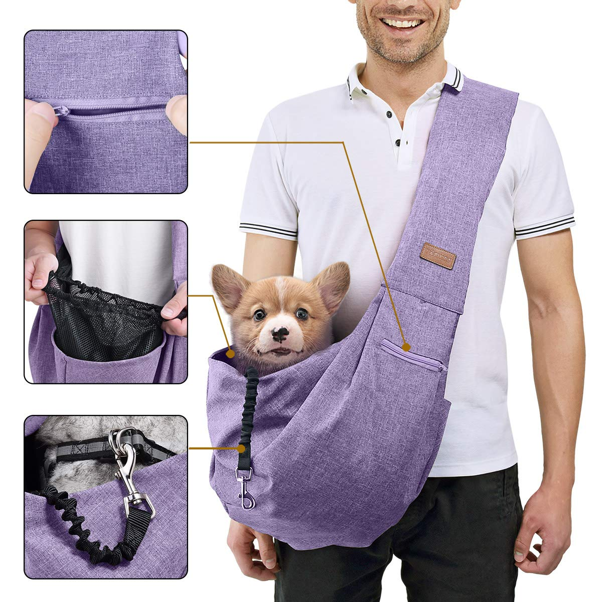 TOMKAS Small Medium Dog Cat Carrier Sling Pet Puppy Outdoor Travel Bag Tote with Mesh and Pocket (Purple for 8-15 lbs)