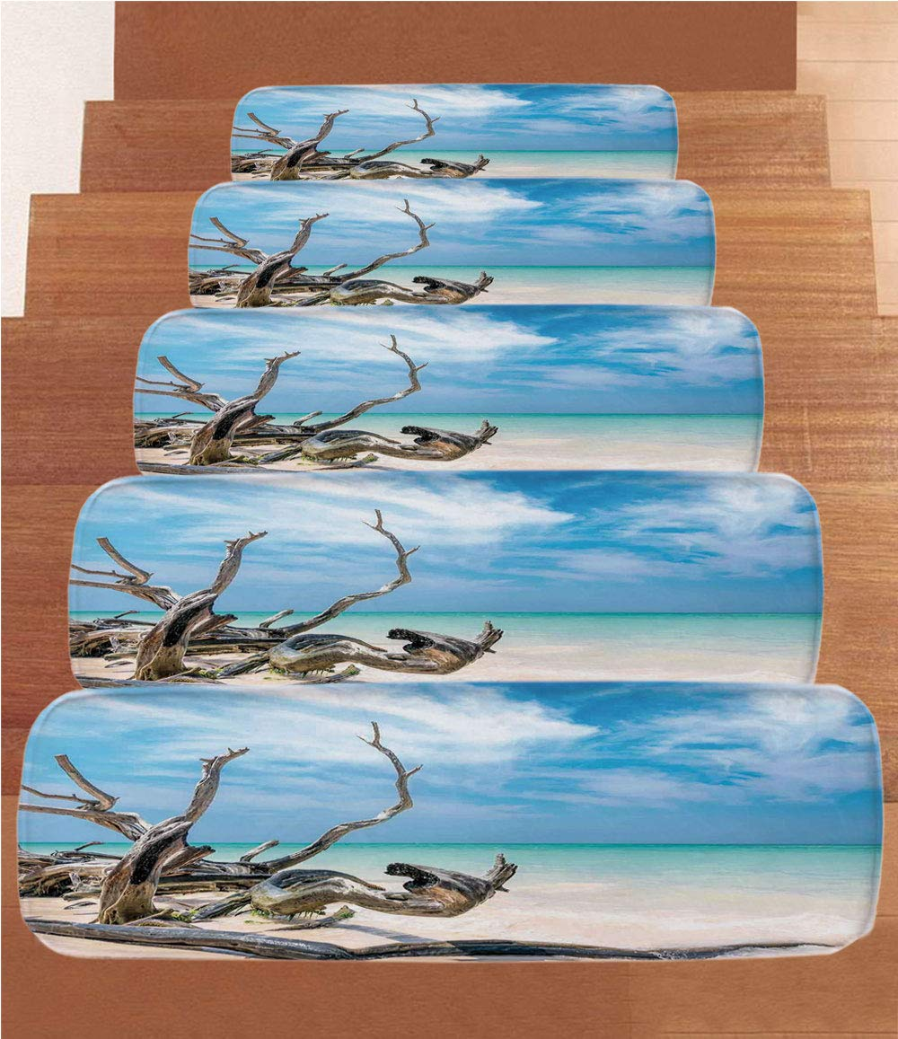 iPrint Non-Slip Carpets Stair Treads,Driftwood Decor,Seascape Theme Branches on Sandy Beach of Cuba and The Sky Image,Turquoise Sky Blue,(Set of 5) 8.6''x27.5''