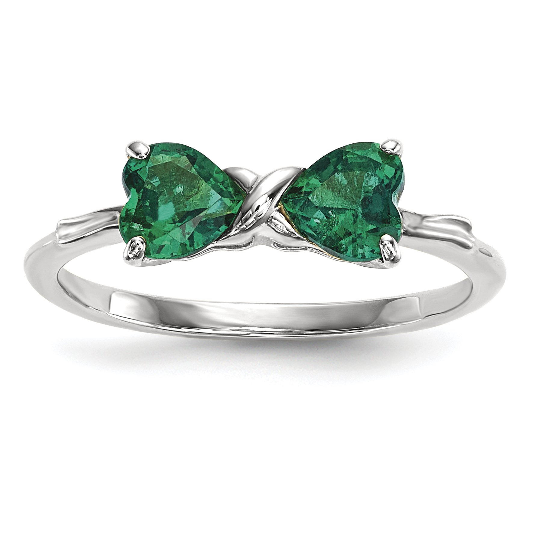 ICE CARATS 14k White Gold Created Green Emerald Bow Band Ring Size 7.00 Birthstone May Set Style Fine Jewelry Gift Set For Women Heart by ICE CARATS
