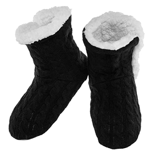 Amazon Yelete Womens Cable Knit Slippers House Booties Socks