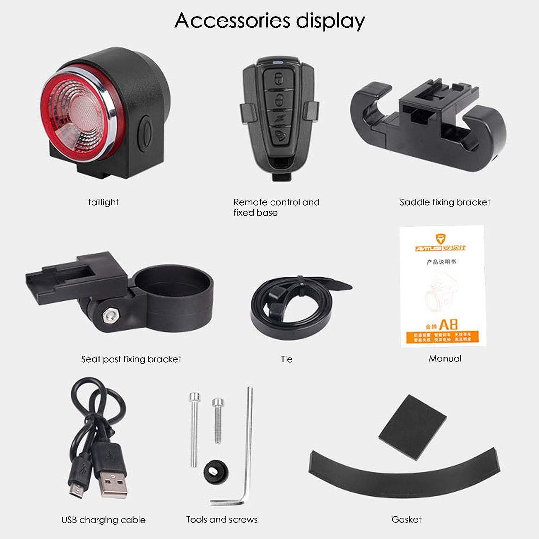 ConBlomi Fahrrad-R/ücklicht Anti-Diebstahl-Fahrradalarm IPX65 wasserdichte LED-R/ücklichter intelligenter Bremssensor ultrahelle R/ücklichter mit Fernbedienung