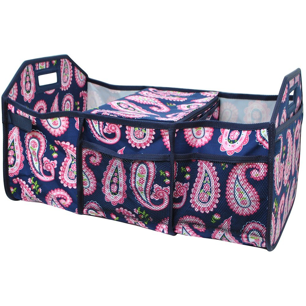 Paisley Print NGIL 3 Compartment Expandable Trunk Organizer and Cooler
