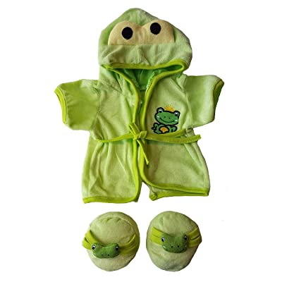 Frog Robe and Slippers Pajamas Outfit Teddy Bear Clothes Fit 14 Inch - 18 Inch Build-a-Bear and Make Your: Toys & Games