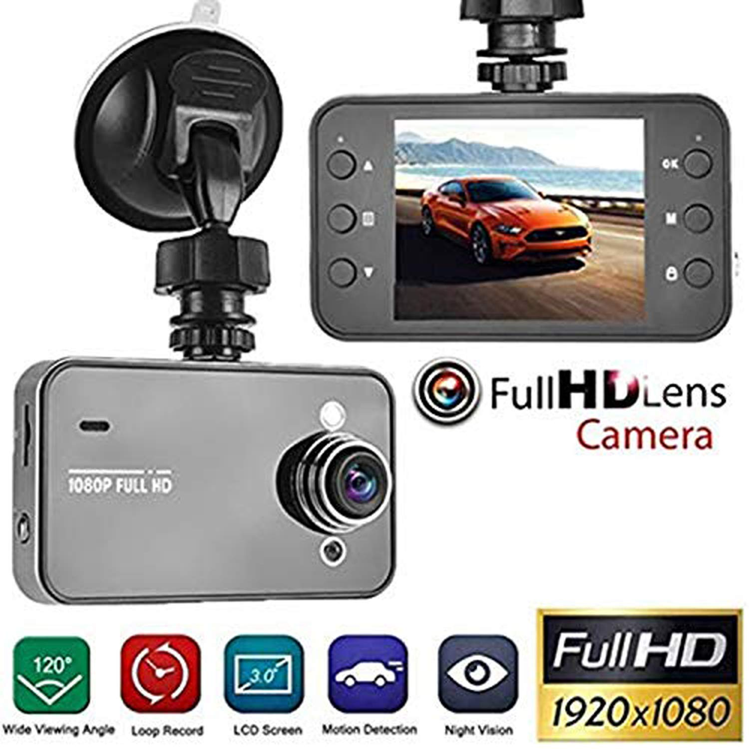 Dash Cam 1080P Full HD Car DVR Dashboard Camera, Driving Recorder with 2.2 Inch LCD Screen, K6000 Super Wide-Angle Night Vision,Photo, Video, Recording, Playback View, Loop Recording