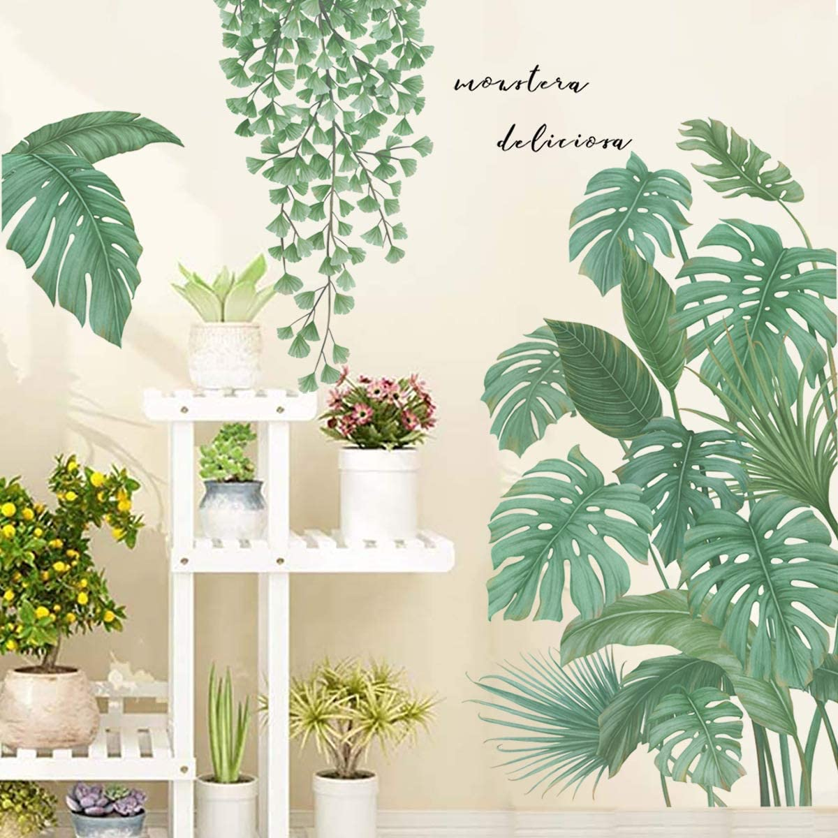 Monstera Leaf Tropical Plants Peel and Stick Wallpaper, Green Ginkgo & Palm Tree Leaves Wall Stickers Decals, DIY Wall Art Decor Home Decorations for Living Room Bedroom, 31.5 x 40inch