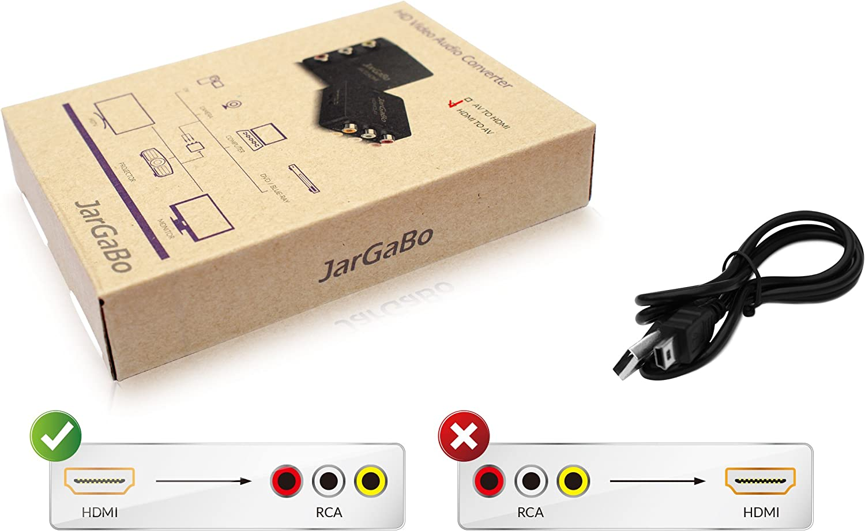 Negro JarGaBo 1080P HDMI a AV Converter 3RCA CVBS compuesto adaptador de audio de v/ídeo compatible con PAL NTSC