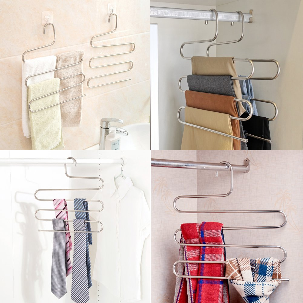 Pants Hangers DEXING S-type Multi-Purpose Stainless Steel Magic Space Saving Hangers Clothes Organizer for Trousers Towels Ties and Scarfs 5 Pcs DEXING Tech