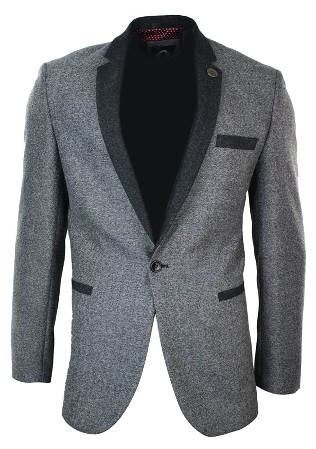 Mens Grey Blazer Jacket Herringbone Tweed 1 Button Fitted Smart Casual