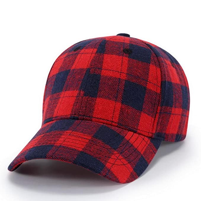 a3810cbe8e1 Men Women Spring Summer Plaid Fabric Snapback Caps Baseball Cap Vintage  Cotton Classic Hats at Amazon Men s Clothing store