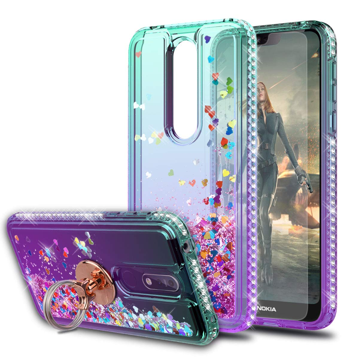 Nokia 7.1 Case with HD Screen Protector with Ring Holder,KaiMai Glitter Moving Quicksand Clear Cute Shiny Phone Case for Nokia 7.1-Aqua/Purple Ring by KaiMai