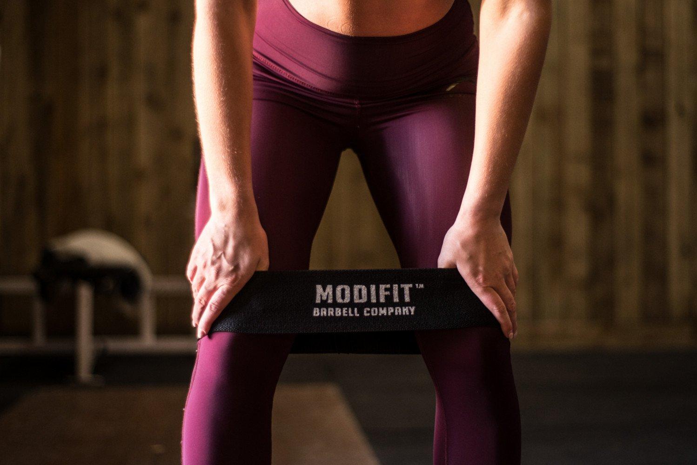 ModiFit Banda circular negra de cadera para activación de glúteos, de algodón elástico y resistente, perfecta para calentamiento antes de levantar pesas, ...