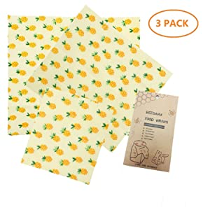 Hgrope Reusable Plastic-Free Beeswax Food Storage Wrap with Natural Organic Ingredients Suit for Store Fruit Bread and Leftover, PACK of 3, Yellow