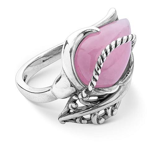 Carolyn Pollack Sterling Silver Pink Jade Gemstone Rosebud Ring Size 05 to 10