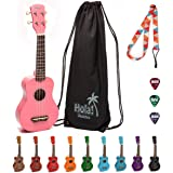 Hola! Music HM-21PK Soprano Ukulele Bundle with Canvas Tote Bag, Strap and Picks, Color Series, Pink