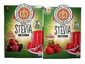 10 servings, Stevia sweetened Gelatin dessert 2 packs, Strawberry & Red Fruits Gelatin with stevia, Gelatin, 0% sugar, Non GMO, Gluten Free, Fat Free, Keto Friendly