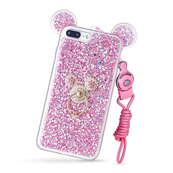 new style fafe3 547e8 DVR4000 3D Luxury Cute Bling Giltter Diamond Mouse Ring Kickstand Strap  Phone Case Cover for iPhone 6/6S 4.7 inch