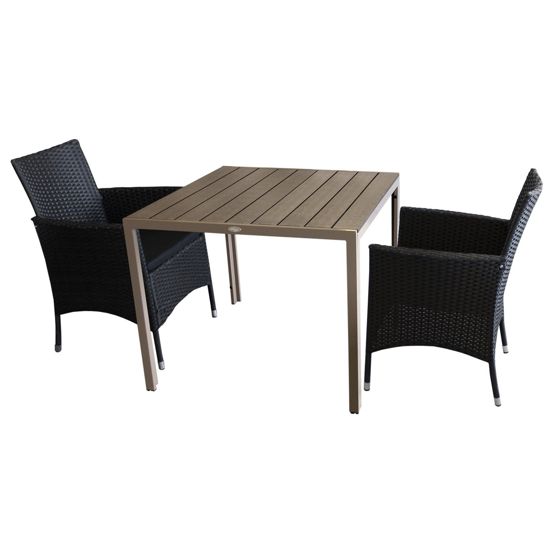 3tlg balkonm bel gartenm bel bistro set gartentisch polywood tischplatte mokka 90x90cm 2x. Black Bedroom Furniture Sets. Home Design Ideas