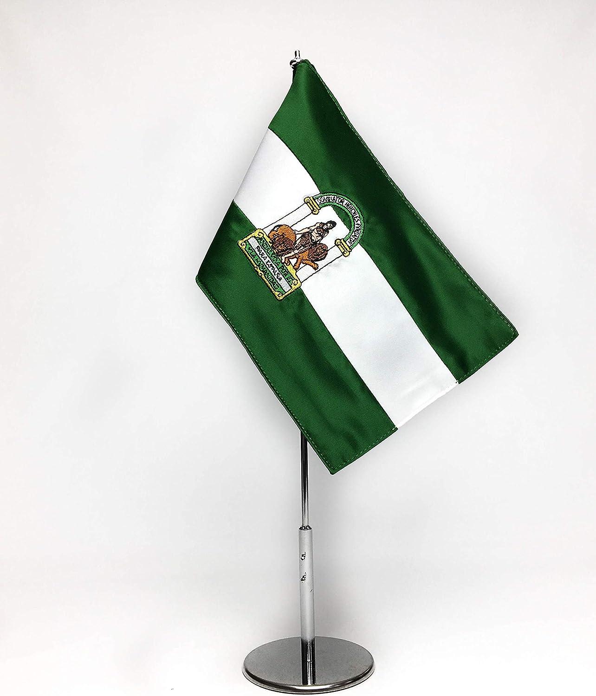 ABBE Global Bandera de Mesa Bordada de Andalucía 15x25 y mástil: Amazon.es: Hogar