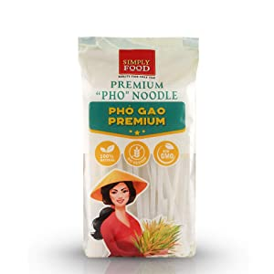 Premium Pho Rice Stick Noodles SIMPLY FOOD - Restaurant Quality, Soft and Chewy Texture, Gluten-Free, and Non-GMO