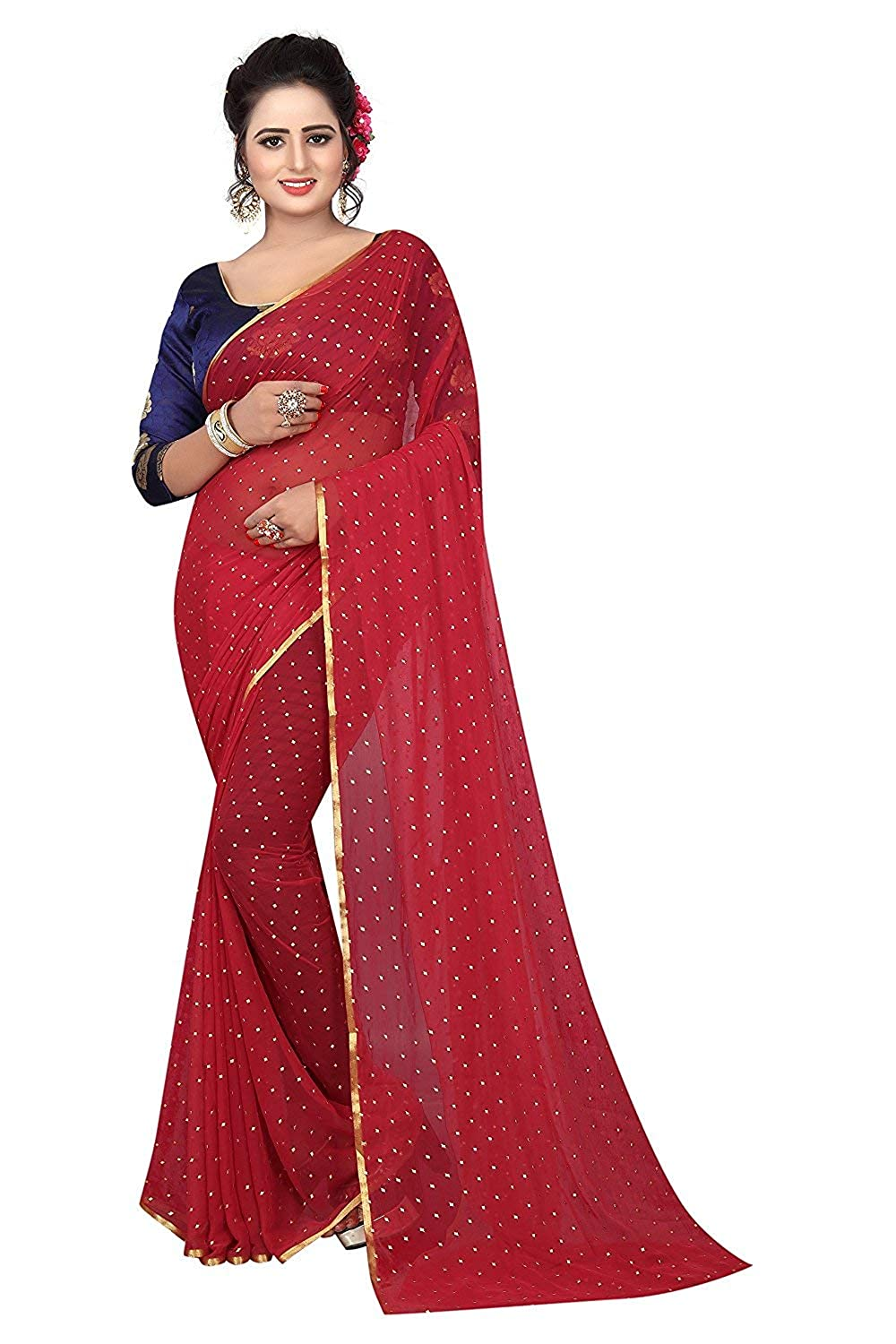 0971bbb8220d3 Krishna Adv Women s Plain Daily Wear Chiffon Saree Gulab (red   gold)   Amazon.in  Clothing   Accessories
