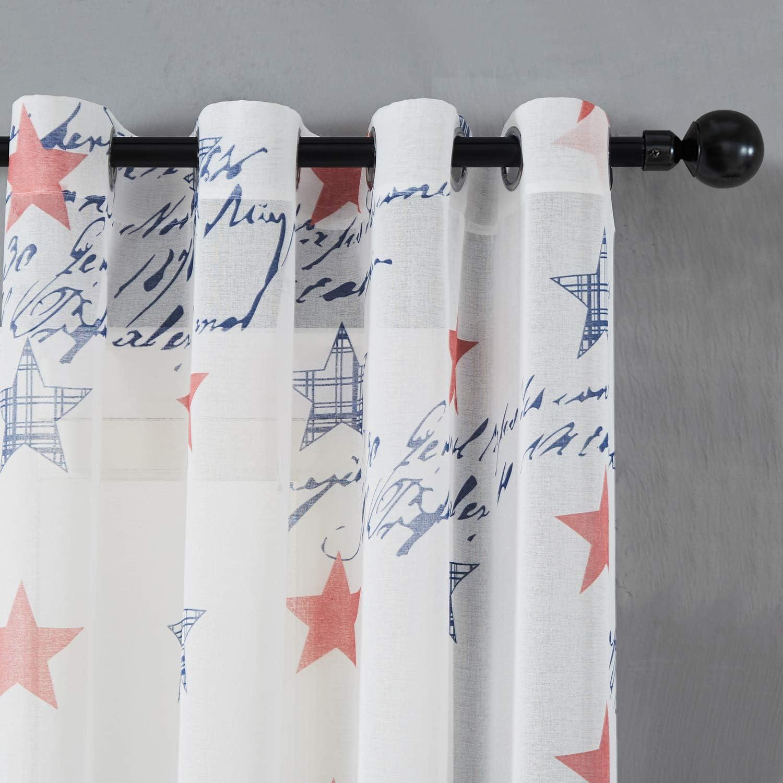Top Finel Cortina de Paneles para Sala de Estar.Dormitorio con la Pintura de Estrella de Suerte de Estados Unidos,140 cm Anchura por 215 cm Longitud,con Ojales,2 Panel
