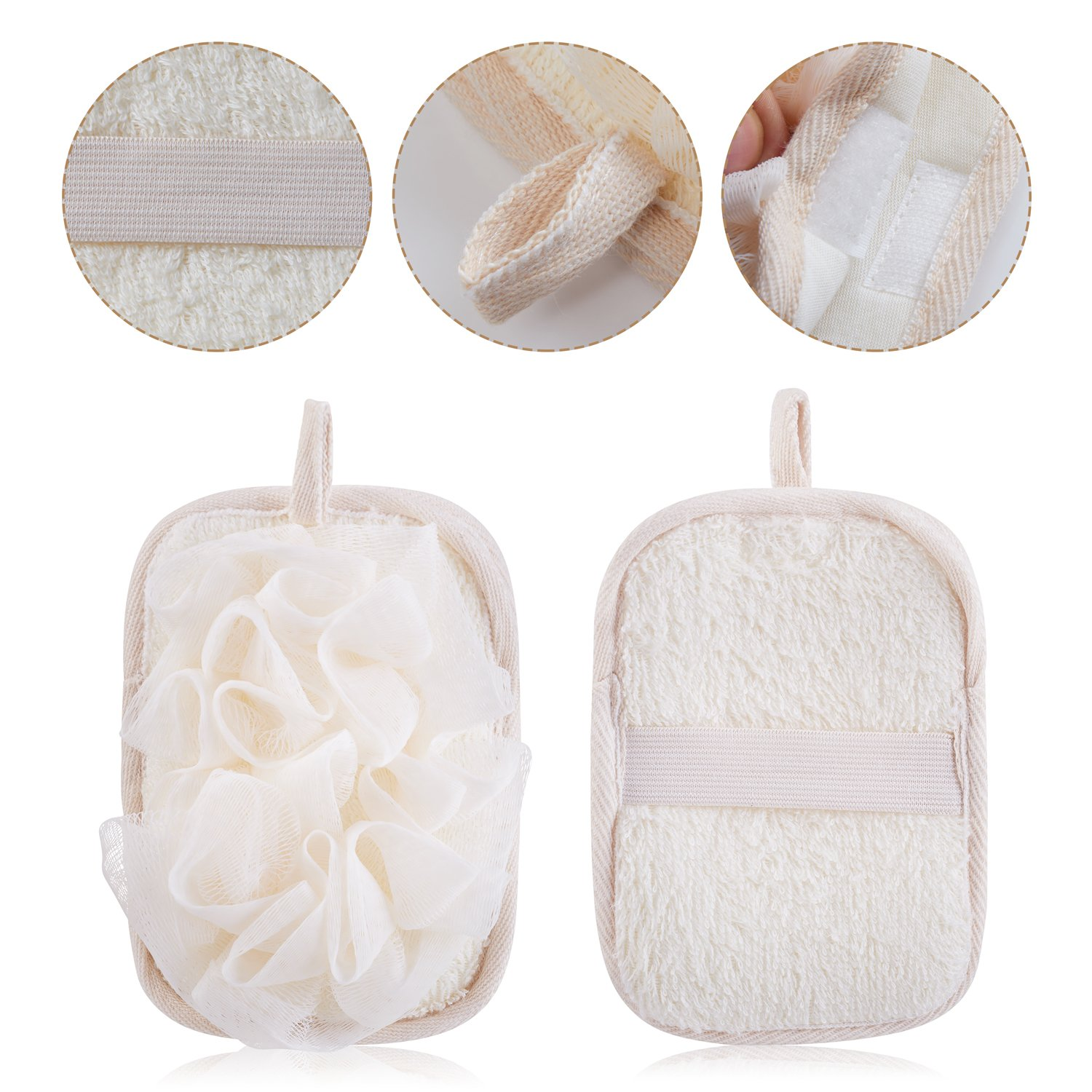 mikimini Bath Mitt for Women, Bath Pouf Mesh Brushes 2 Packs Set | Loofah Sponge & Exfoliating Pad 2 in 1 Professional Design | Exfoliating Gently with the Elastic Hand Strap or Wearing the Mitten by mikimini (Image #3)