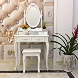 FCH Vanity Set with Mirror&Stool Dressing Table Vanity Makeup Table Stool Set for Bedroom/Bathroom (4 Drawers,White)