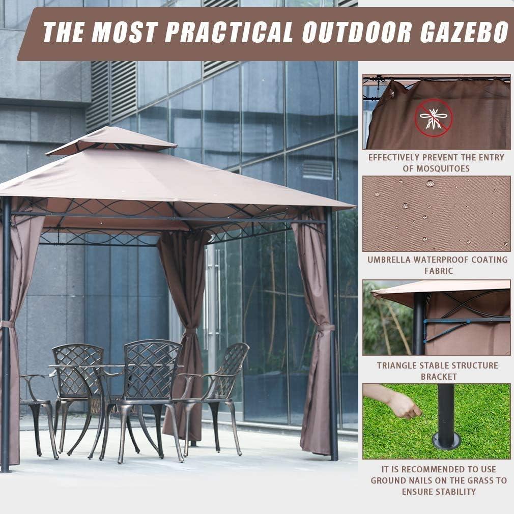 WSN Glorieta Tienda de campaña Cubierta, 10 X 10 Barbacoa al Aire Libre Patio Grill Gazebo para Patios Gran Jardín Top Gazebo con la Pared Lateral Party Tienda: Amazon.es: Hogar