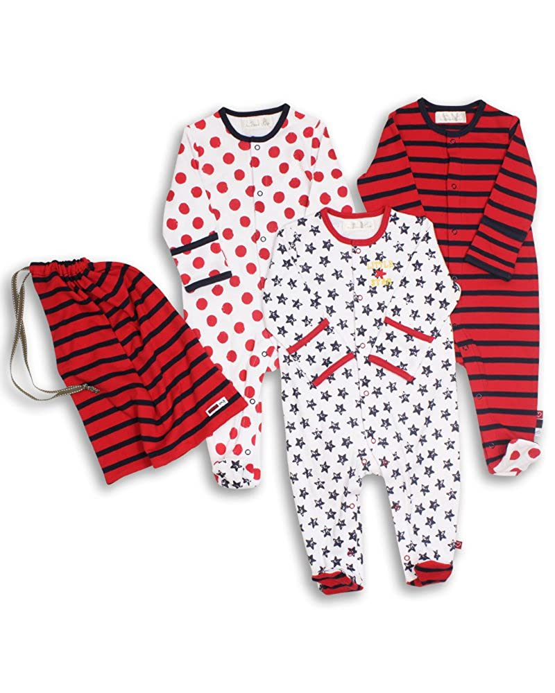 The Essential One - Unisex Pack of 3 Baby Sleepsuits/Babygrows - Navy Red - ESS36