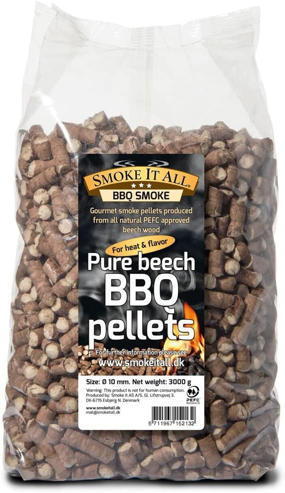 Pellets de madera para barbacoa de Smoke it all 63200, madera de haya, 3 kg, para barbacoa ohorno de ahumar