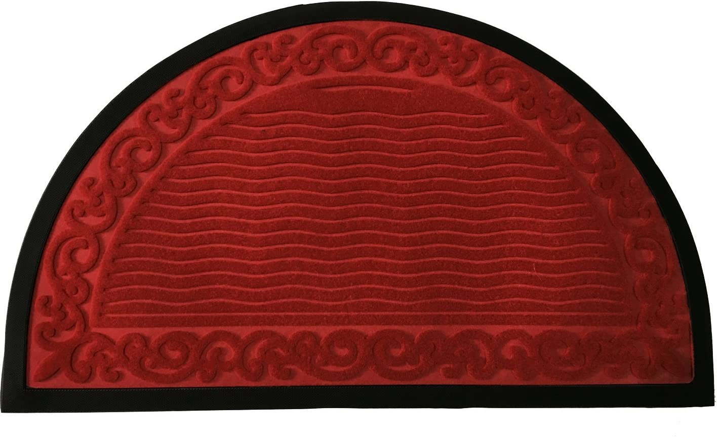 Half Round Door Mat Entrance Rug Floor Mats Ripple Pattern Mat Garage Entry Carpet Decor for House Patio Grass Water 1830-inch Semi-circle – Red