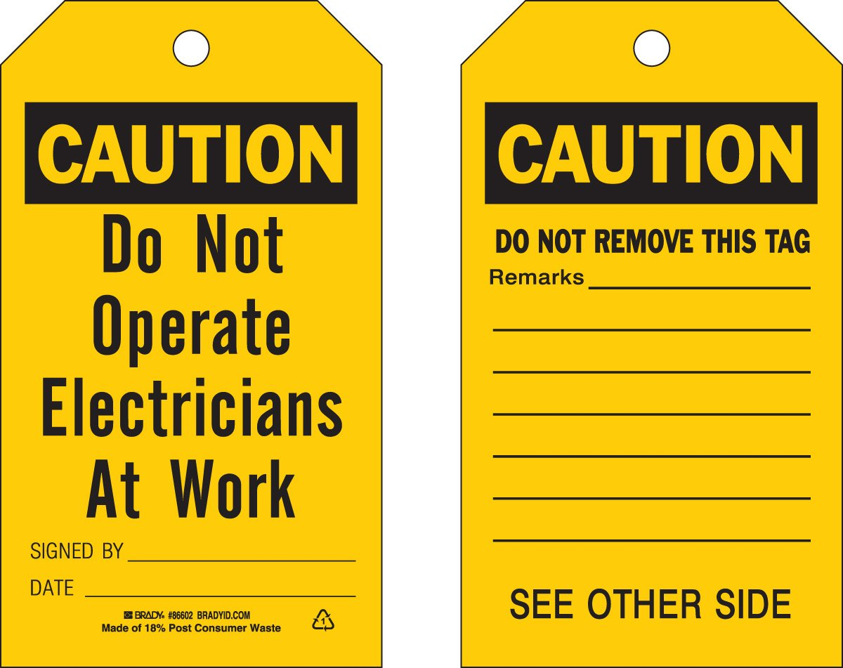 Brady  86428 5 3/4'' Height x 3'' Width, Heavy Duty Polyester (B-837), Black on Yellow Accident Prevention Tags (10 Tags) by Brady
