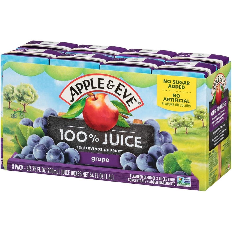 Apple & Eve 100% Juice, Grape, 6.75 Fluid-oz, 40 Count