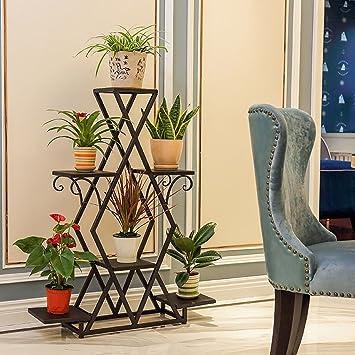 Soporte de flores creativo Madera maciza Flor de piso de varios pisos Soporte de flores de