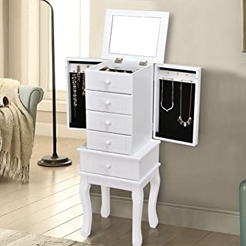 Amazoncom Giantex Standing Jewelry Armoire with Fliptop Mirror