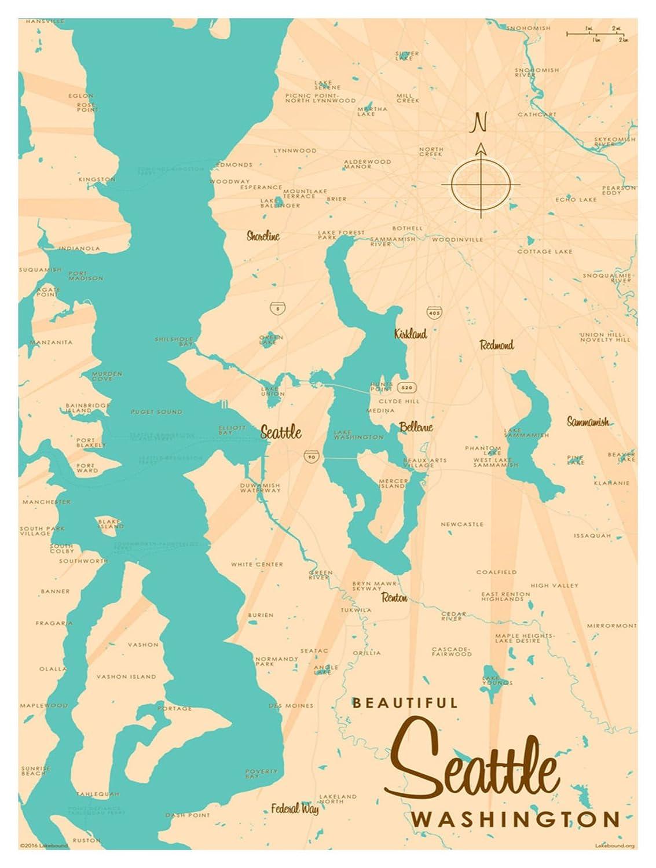 38d0a285a9ef Amazon.com  Seattle Washington Map Vintage-Style Art Print by Lakebound (9