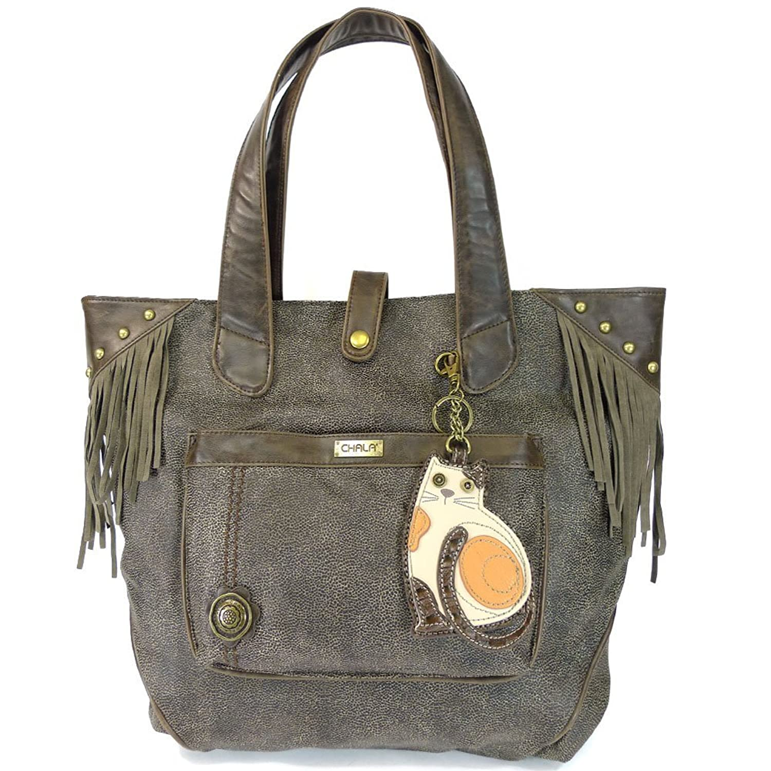 Chala LaZzy Cat Fringe Tote with Key Fob, Brown