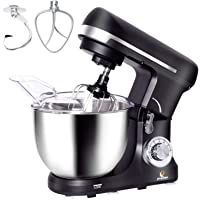 POSAME Stand Mixer Professional Kitchen Baking Mixer with Stainless Steel Bowl Tilt-Head Mixer Machine with Dough Hook, Whisk, Beater, Pouring Shield