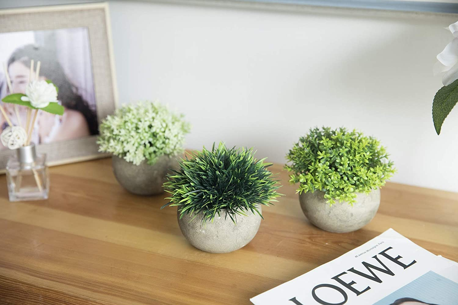 THE BLOOM TIMES 2 Pcs Fake Plants for Bathroom/Home Office Decor, Small Artificial Faux Greenery for House Decorations (Potted Plants) -