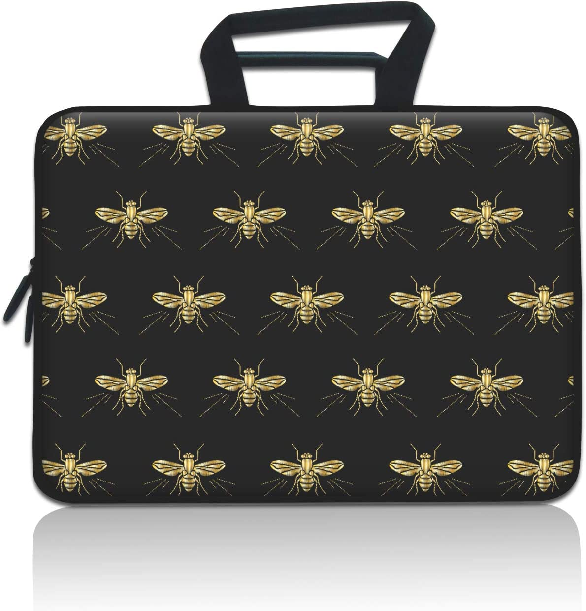 iLeadon Laptop Sleeve, 11-12.5 Inch Neoprene Laptop Carrying Case Bag with Handle Compatible MacBook Air 11/12, Chromebook R11/HP Stream/Samsung/ASUS C202/Surface Pro3/Pro4, Gold Bees