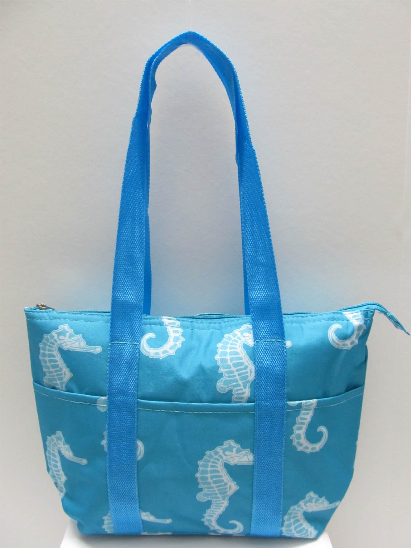 Good Bag Insulated Lunch Bag Portable Carry Storage Lunch Tote Bag - Seahorse Sky Blue