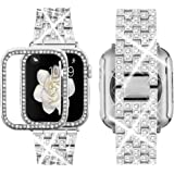 Supoix Compatible with Apple Watch Band 38mm 40mm 42mm 44mm + Case, Women Jewelry Bling Diamond Rhinestone Replacement Metal