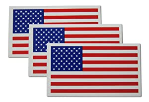 Small American Flag Patriotic Military Magnets Set Mini Rectangles in Classic Red, White, Blue US Design (3 Pieces)