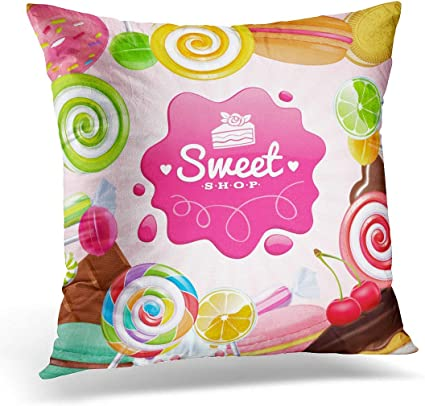 N A Throw Pillow Covers Pink Different Sweets Colorful Lollipops Cake Macarons Chocolate Bar Candies And Donut On Shine Green Decorative Pillow Case Home Decor Square Pillowcase Amazon Co Uk Kitchen Home