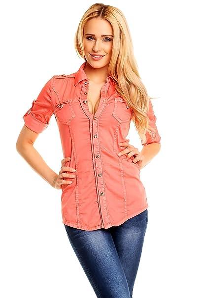 onado Denim Camisa Camiseta Mujer Jeans Blusa con brillantes Botones salmón L/42