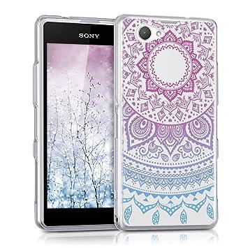 kwmobile Funda compatible con Sony Xperia Z1 Compact - Carcasa de [TPU] y diseño de sol hindú en [azul / rosa fucsia / transparente]