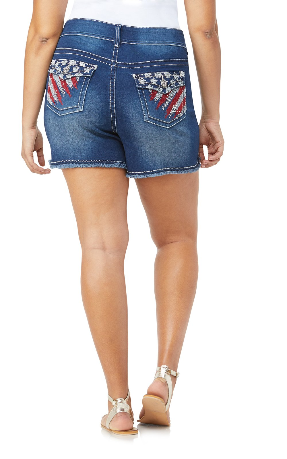 WallFlower Women's Plus Size Bling Luscious Curvy Americana Denim Shorts in Nicki, 18 Plus
