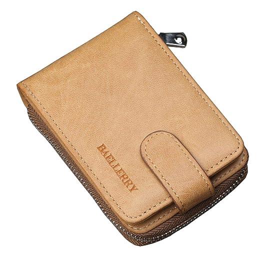 f5a0c2fb0f8 Mens Slim Wallet RFID Front Pocket Wallet Minimalist Secure Thin Multi Credit  Card Holder Zipper Small