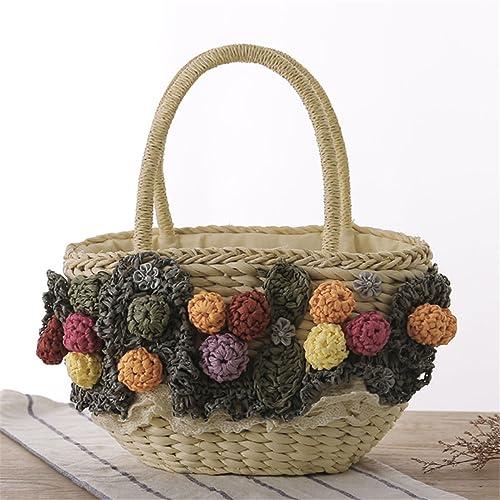 Bolsas tejidas de paja, bolas preciosas, uvas, fruta, bolsos ...