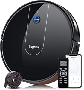 "Bagotte Robot Vacuum, 1600Pa Suction, 2.7"" Super-Thin, Wi-Fi Connected, Remote App Control, 100Mins Runtime, Self-Charging Robot Vacuum Cleaner with Boundary Strip for Pet Hair, Hard Floors, Carpets"